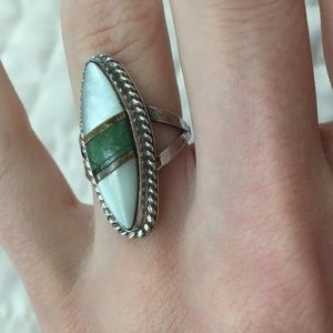 Old Pawn Sterling Silver Ring with Stone Inlay